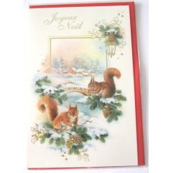 Carte postale neuve + enveloppe fêtes joyeux noël sapin père noël neige cadeaux (lot 01.04)