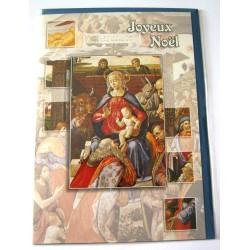 Carte postale neuve + enveloppe fêtes joyeux noël sapin père noël neige cadeaux (lot 01.05)