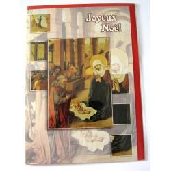 Carte postale neuve + enveloppe fêtes joyeux noël sapin père noël neige cadeaux (lot 01.06)