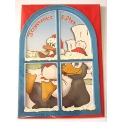 Carte postale neuve + enveloppe fêtes joyeux noël sapin père noël neige cadeaux (lot 01.07)