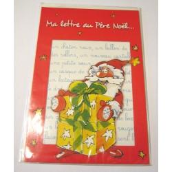 Carte postale neuve + enveloppe fêtes joyeux noël sapin la lettre au père noël neuve