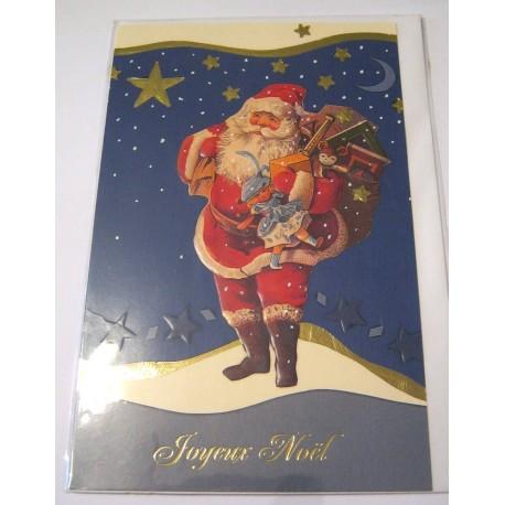 Carte postale neuve + enveloppe fêtes joyeux noël sapin père noël neige cadeaux (lot 06.03)