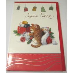 Carte postale neuve + enveloppe fêtes joyeux noël sapin père noël neige cadeaux neuve