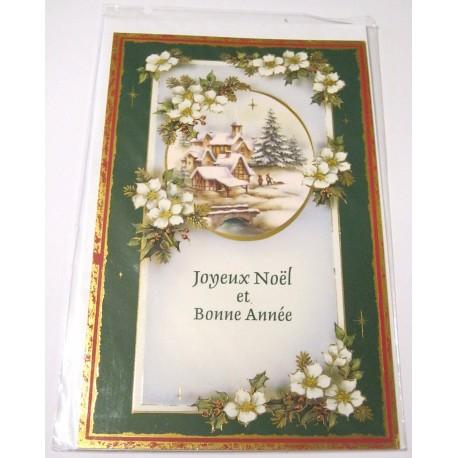 Carte postale neuve + enveloppe fêtes joyeux noël sapin père noël neige cadeaux (lot 09.06)