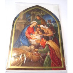 Carte postale neuve + enveloppe fêtes joyeux noël sapin père noël neige cadeaux
