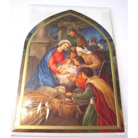 Carte postale neuve + enveloppe fêtes joyeux noël sapin père noël neige cadeaux (lot 19.02)