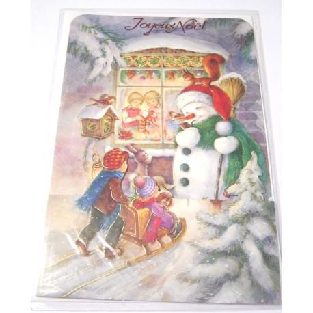 Carte postale neuve + enveloppe fêtes joyeux noël sapin père noël neige cadeaux (lot 25.04)