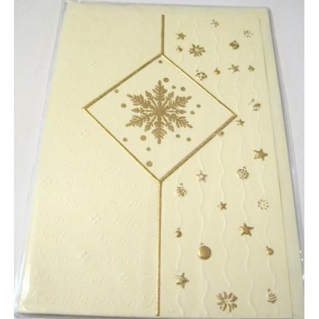 Carte postale neuve + enveloppe fêtes joyeux noël sapin père noël neige cadeaux (lot 27.02)