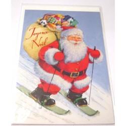 Carte postale neuve + enveloppe fêtes joyeux noël sapin père noël neige cadeaux (lot 36.03)