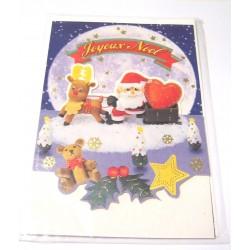 Carte postale neuve + enveloppe fêtes joyeux noël sapin père noël neige cadeaux (lot 37.01)