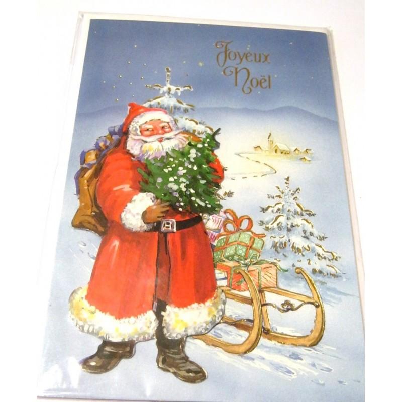 carte postale neuve enveloppe f tes joyeux no l sapin p re no l neige cadeaux neuve. Black Bedroom Furniture Sets. Home Design Ideas