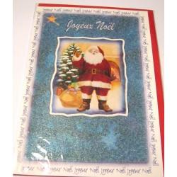 Carte postale neuve + enveloppe fêtes joyeux noël sapin père noël neige cadeaux (lot 40.03)