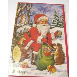 Carte postale neuve + enveloppe fêtes joyeux noël sapin père noël neige cadeaux (lot 40.04)