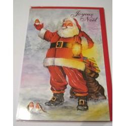 Carte postale neuve + enveloppe fêtes joyeux noël sapin père noël neige cadeaux (lot 40.05)