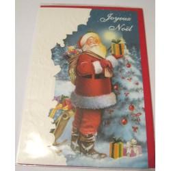 Carte postale neuve + enveloppe fêtes joyeux noël sapin père noël neige cadeaux (lot 40.06)
