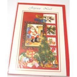 Carte postale neuve + enveloppe fêtes joyeux noël sapin père noël neige cadeaux (lot 40.07)