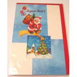 Carte postale neuve + enveloppe fêtes joyeux noël sapin père noël neige cadeaux (lot 40.10)