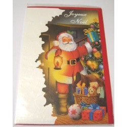 Carte postale neuve + enveloppe fêtes joyeux noël sapin père noël neige cadeaux (lot 40.11)