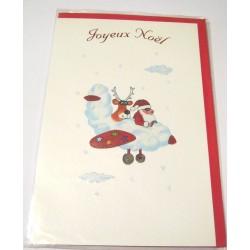 Carte postale neuve + enveloppe fêtes joyeux noël sapin père noël neige cadeaux (lot 40.13)