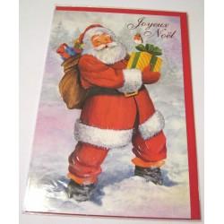 Carte postale neuve + enveloppe fêtes joyeux noël sapin père noël neige cadeaux (lot 40.08)