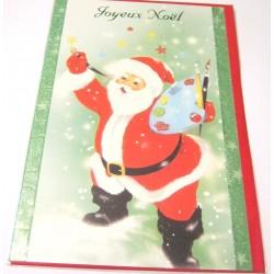Carte postale neuve + enveloppe fêtes joyeux noël sapin père noël neige cadeaux (lot 42.01)