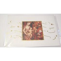 Carte postale neuve + enveloppe fêtes joyeux noël sapin père noël neige cadeaux (lot 42.02)