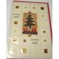 Carte postale neuve + enveloppe fêtes joyeux noël sapin père noël neige cadeaux (lot 43.01)