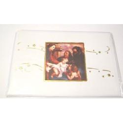Carte postale neuve + enveloppe fêtes joyeux noël sapin père noël neige cadeaux (lot 43.02)