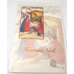 Carte postale neuve + enveloppe fêtes joyeux noël sapin père noël neige cadeaux (lot 44.02)