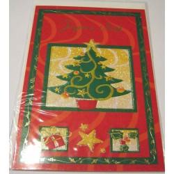 Carte postale neuve + enveloppe fêtes joyeux noël sapin père noël neige cadeaux (lot 46)