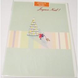 Carte postale neuve + enveloppe fêtes joyeux noël sapin père noël neige cadeaux (lot 47)