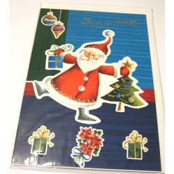 Carte postale neuve + enveloppe fêtes joyeux noël sapin père noël neige cadeaux (lot 48)
