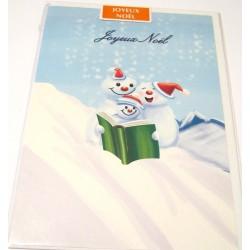 Carte postale neuve + enveloppe fêtes joyeux noël sapin père noël neige cadeaux (lot 49)