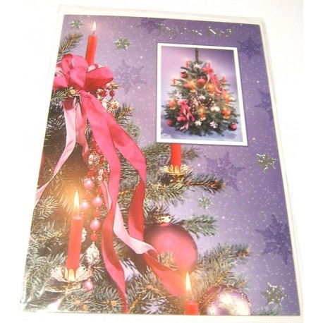 Carte postale neuve + enveloppe fêtes joyeux noël sapin père noël neige cadeaux (lot 51)