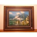 cadre tableau déco paysage dessus verre contour bois plastifié tbe