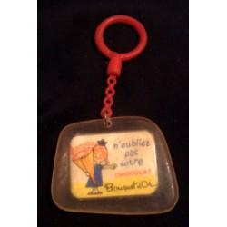 """Ancien porte clé publicitaire vintage """" CHOCOLAT BOUQUET D'OR """" beg"""