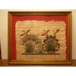 cadre tableau déco papyrus sur fond rouge dessus verre contour bois tbe