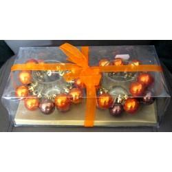 Coffret photophore bougeoirs boules oranges fête noël mariage décoration table divers neuve