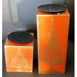 Lot de 2 bougeoirs déco fête noël sapin décoration divers socle bois orange pailleté dessus métal noir