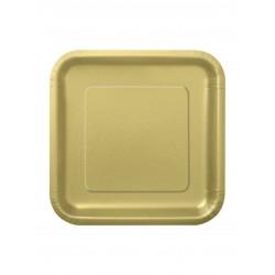 LOT DE 16 Petites assiettes dessert carrée en carton or FÊTE ANNIVERSAIRE MARIAGE NOEL NEUF