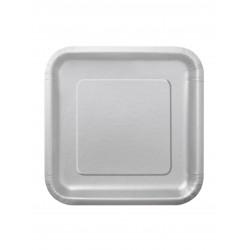 LOT DE 16 Petites assiettes dessert carrée en carton argent FÊTE ANNIVERSAIRE MARIAGE NOEL NEUF