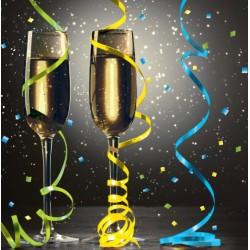 LOT DE 16 Serviettes en papier Noir champagne 25 x 25 cm FÊTE ANNIVERSAIRE MARIAGE NOEL NEUF