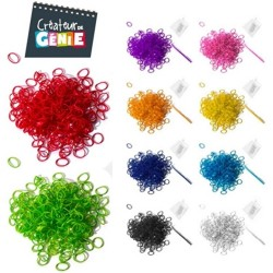 Pack 200 élastiques Magic Loom rose fluo + crochet + attaches NEUF