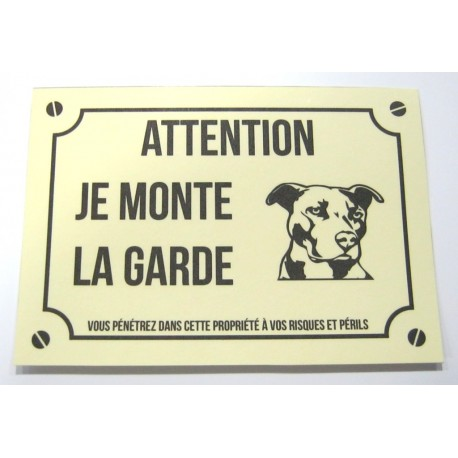 plaque de porte plastifi chien m chant int rieur ext rieur 04 neuf. Black Bedroom Furniture Sets. Home Design Ideas
