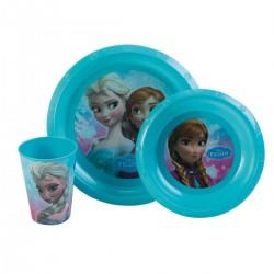Ensemble lunch 3 pièces (assiette, bol, verre) plastiquerigide La Reine des neiges Frozen neuf
