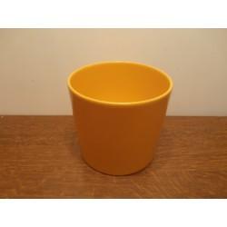 cache pot en ceramique jaune orangé tbe