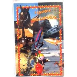 Carte postale neuve avec enveloppe joyeux anniversaire ( lot 75.12)