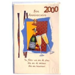 Carte postale neuve avec enveloppe joyeux anniversaire 2000 ( lot 76.05)
