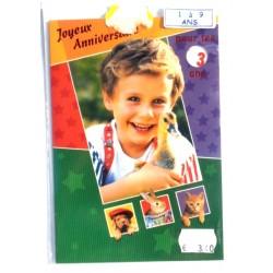Carte postale neuve avec enveloppe joyeux anniversaire multidates enfant ( lot 76.01)