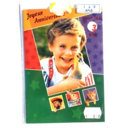 Carte postale neuve avec enveloppe joyeux anniversaire multidates enfant